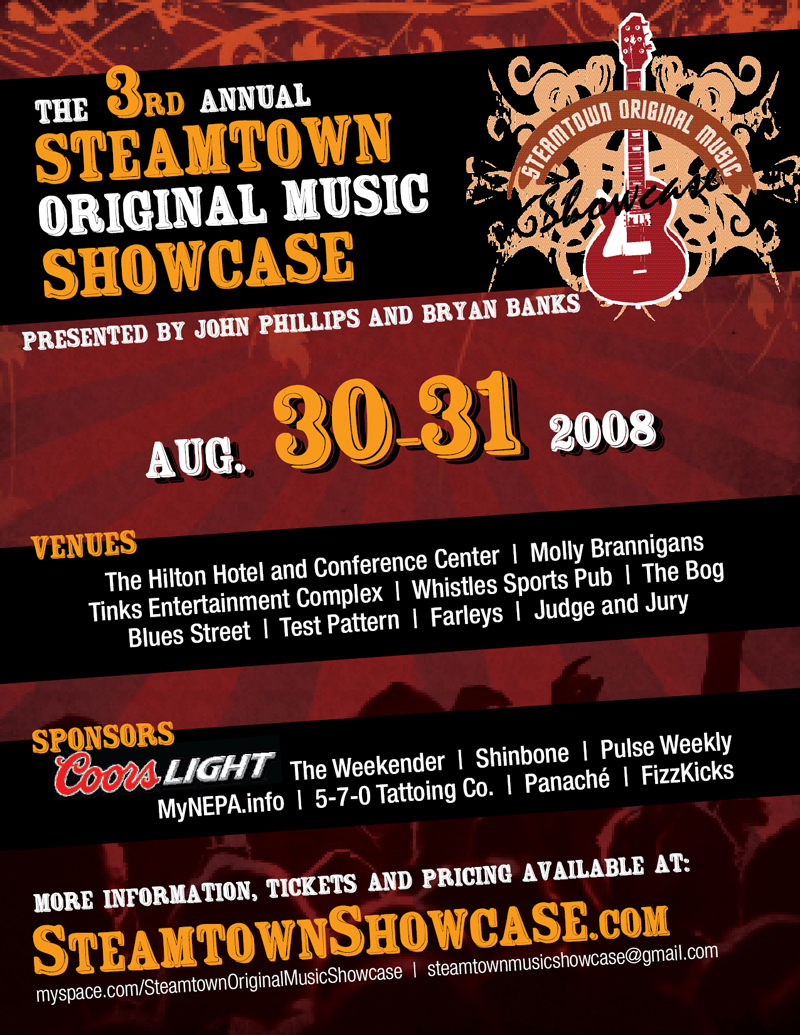 steamtown, showcase, music, flyer, 2008