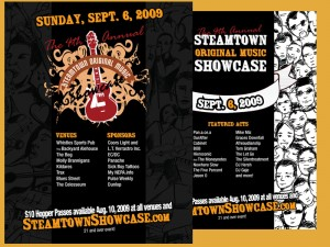 steamtown, showcase, music, flyer, 2009