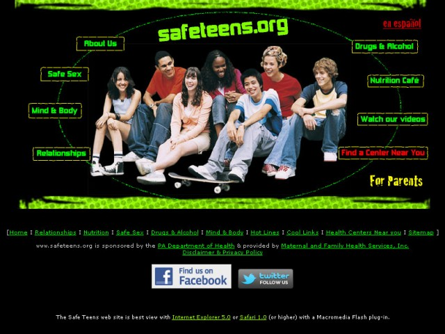 Safeteens Homepage Before