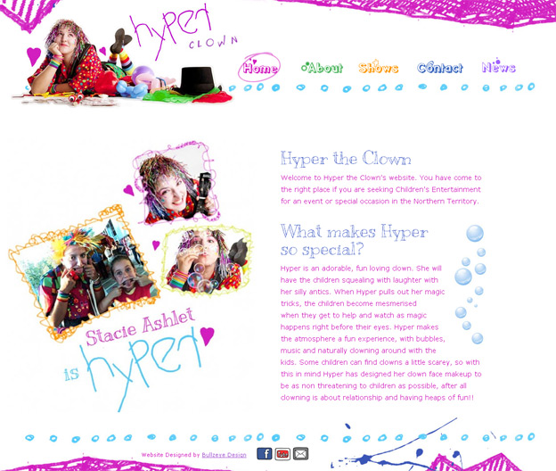 Hyper Clown Website by BullzeyeDesign.com