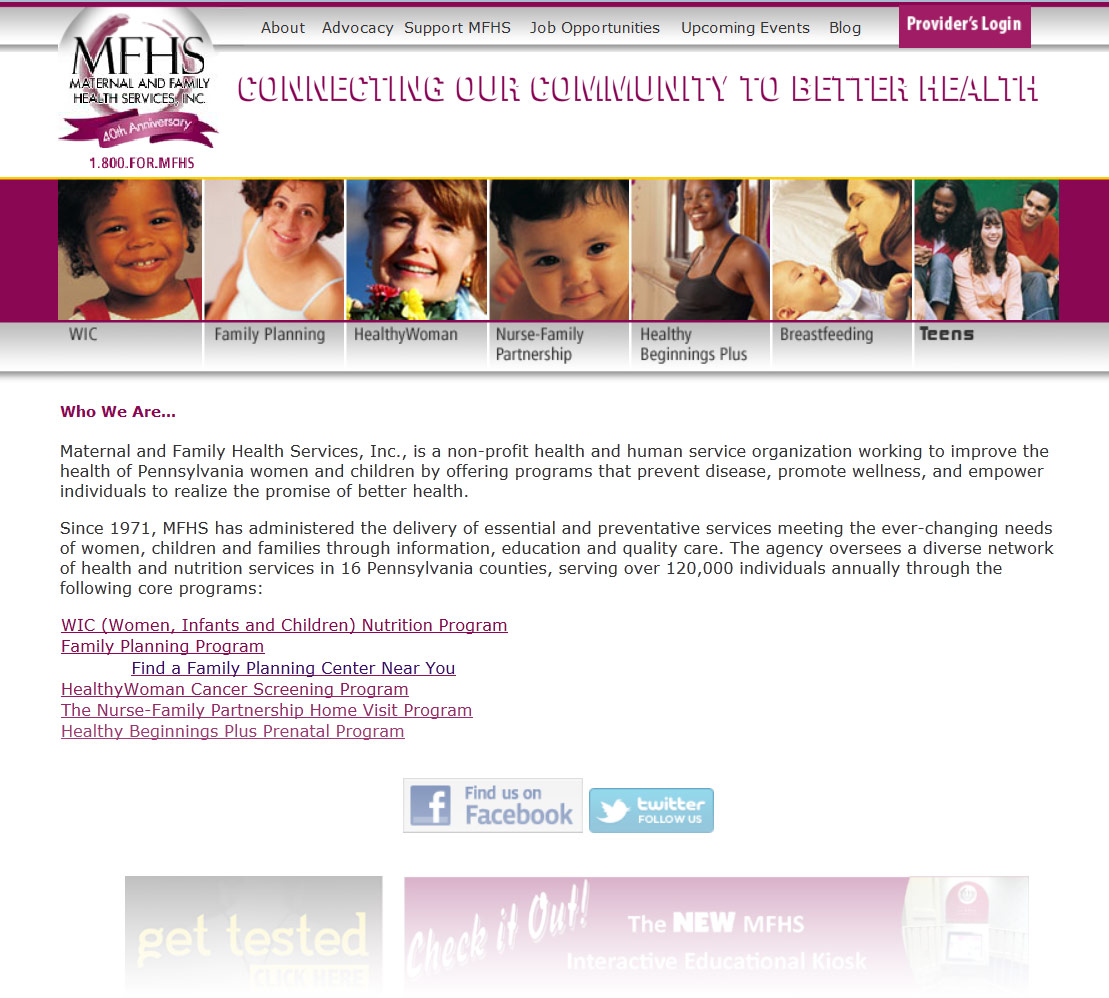 family services website design before