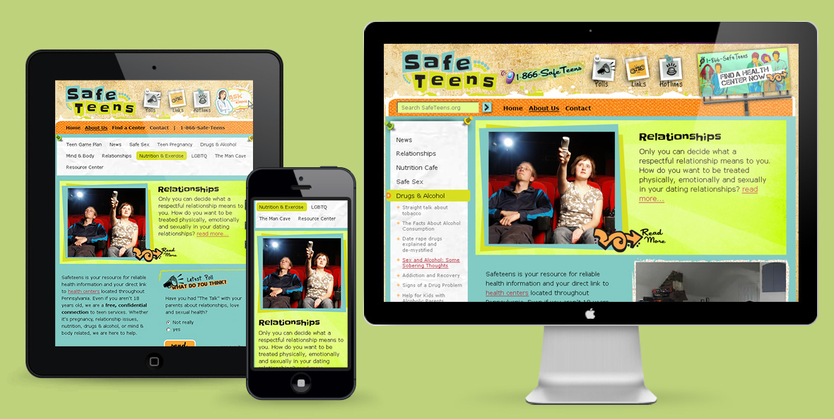 Safeteens website design