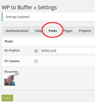 Settings to Schedule WordPress Posts to Buffer