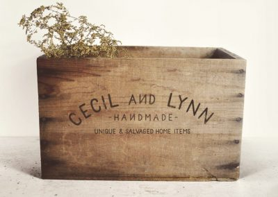 Etsy shop logo on a crate
