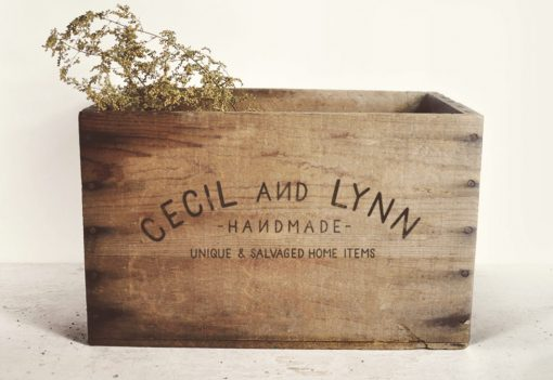 Etsy shop logo on a vintage wooden crate