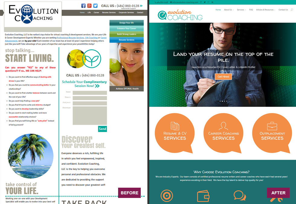 Coaching Website Before & After