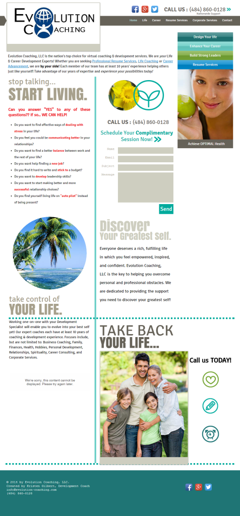 Evolution Coaching website before redesign