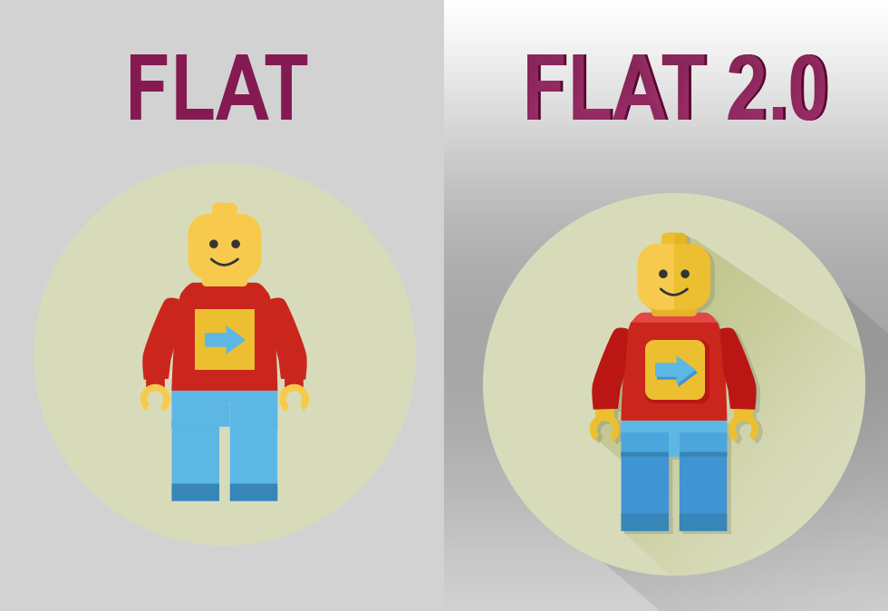 Flat 2.0 design trend & improving website usability