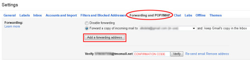gmail settings for forwarding